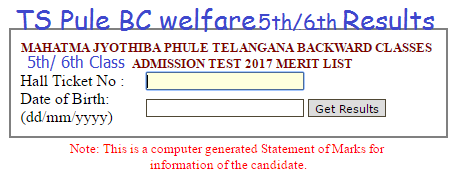 TS BC Welfare 7th/ 6th/ 5th Class Results 2017 District wise Selection list 2017 MJPTBCWREIS Telangana