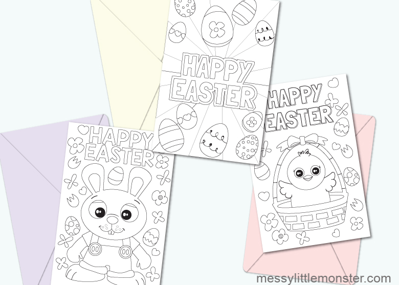 picture relating to Easter Cards Printable known as Printable Easter Playing cards in the direction of Color - Messy Minor Monster