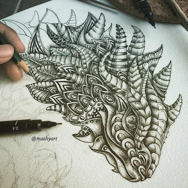 14-Armadillo-Lizard-Dragon-Fusion-Maahy-Drawings-Given-the-Zentangle-Treatment-www-designstack-co