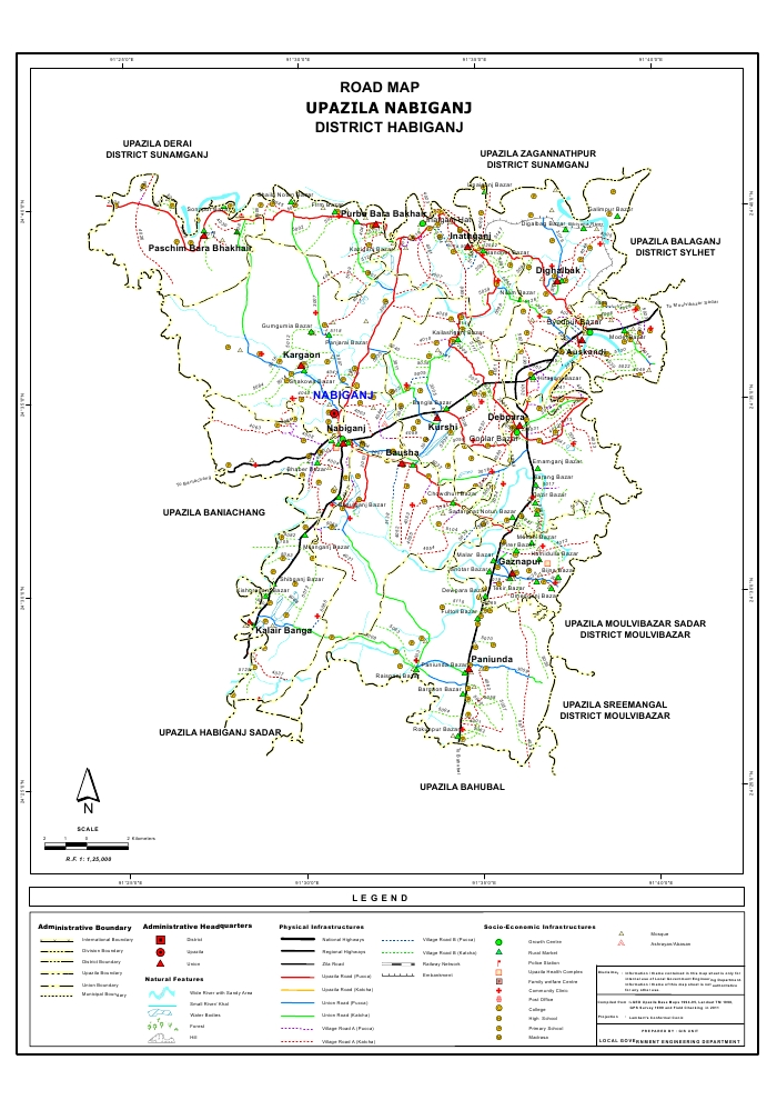 Nabiganj Upazila Road Map Habiganj District Bangladesh
