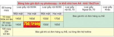 bảng giá photocopy giá rẻ