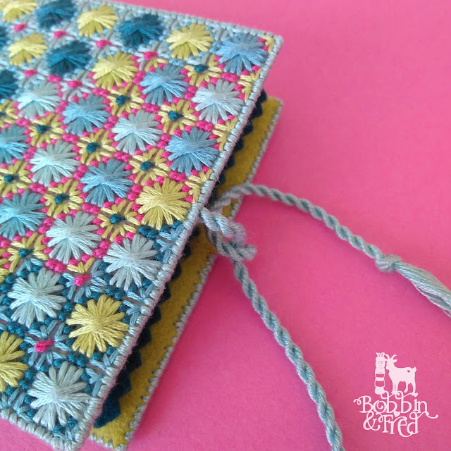Close up of the Turkish Jewel Needlebook with handmade cord by Bobbin and Fred