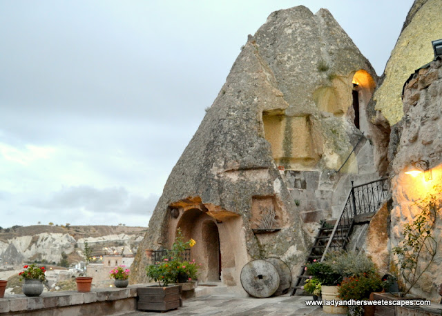 the fairy chimney rooms at Kelebek Hotel
