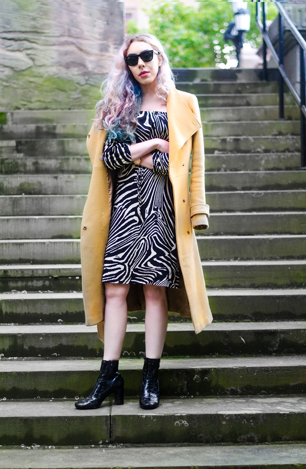 house of fraser dress asos wool trench coat blogger outfit
