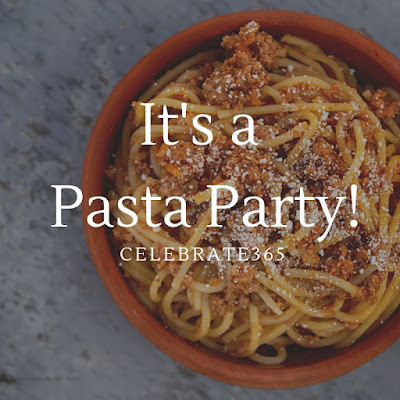 "bowl of pasta with words ""it's a pasta party!"""