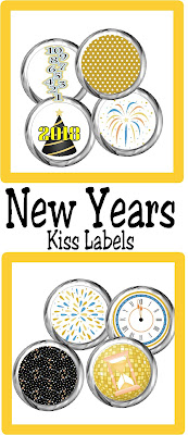 Celebrate at your New Years party with this fun, party printable New Years Kiss Labels. These labels will be updated every year so they are always current and always perfect for your sweets table or New Years dessert table.