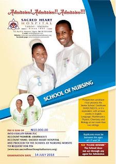 Sacred Heart Hospital School of Nursing Admission Form - 2018/2019