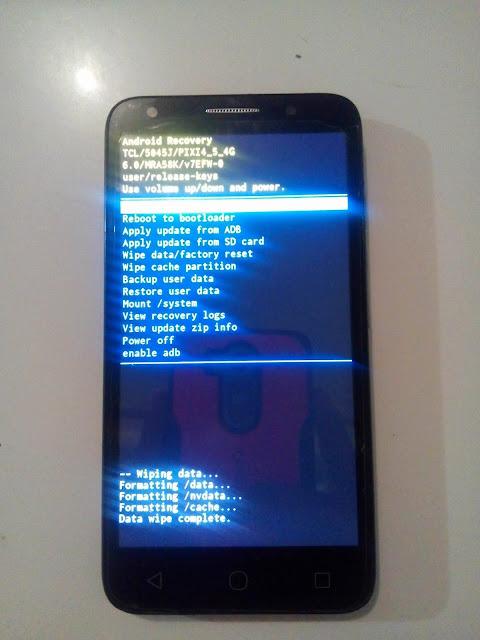 reiniciar el teléfono alcatel pixi 4