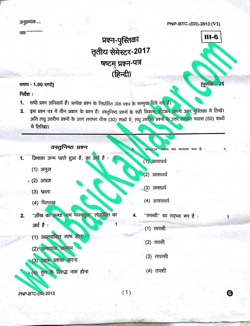 BTC 3rd Semester Exam Paper - हिंदी