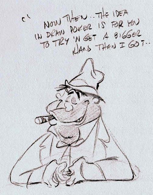 large Chuck Jones sketch of a bully gambler