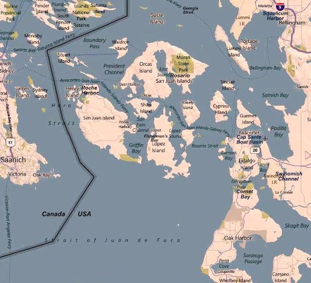 map chart of the San Juans