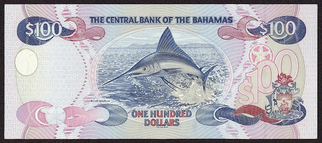Bahamas money currency 100 Dollars banknote 2000 Atlantic Blue Marlin