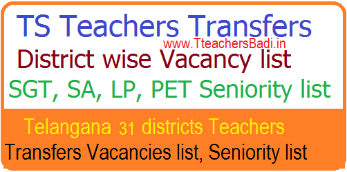 TS Teacher Transfers Vacancy Seniority list 2018 - District Wise SGT SA LP PET GHM Vacancy List
