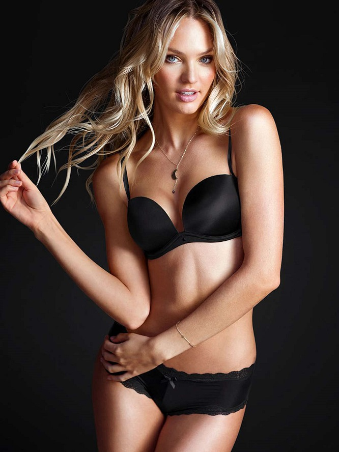 Candice Swanepoel poses for Victoria's Secret Black Lingerie Photoshoot