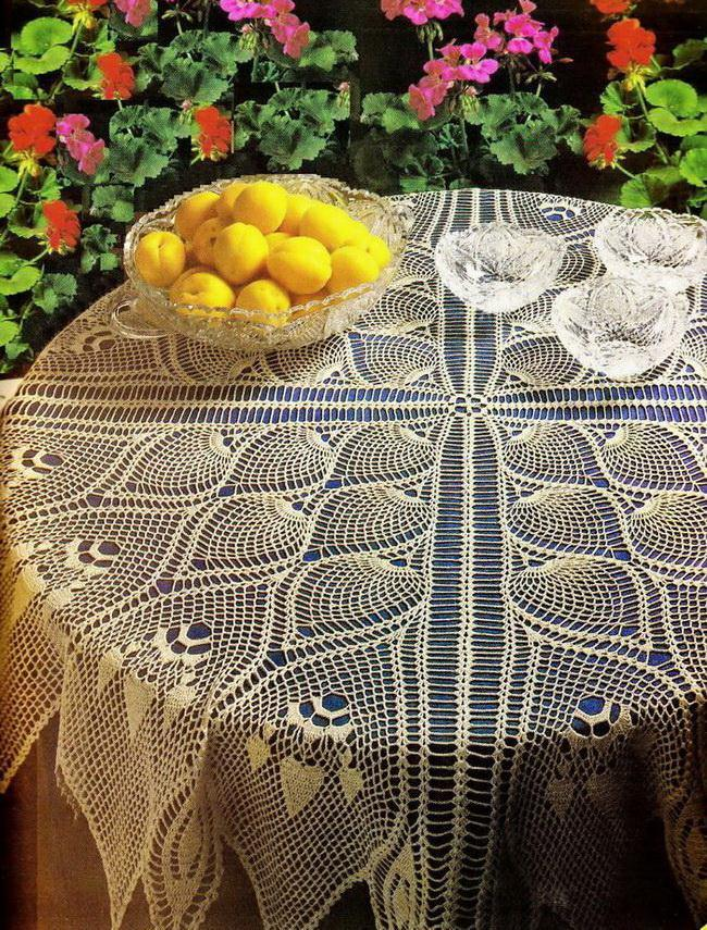 Crochet Tablecloth Patterns - Round Lacy Pineapple - Fabulous