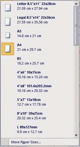 Tampilan paper size
