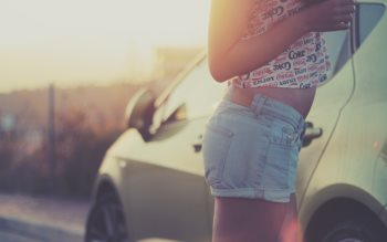 Wallpaper: A girl with a car in a travel