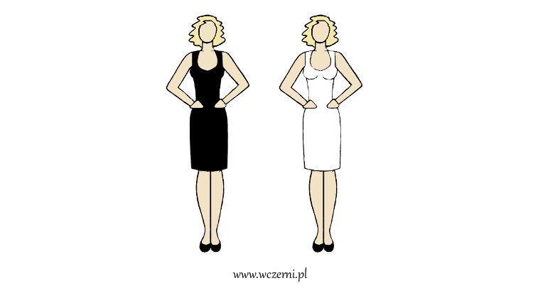 szerokie ramiona w dobrze dopasowanym kolorze sukienki