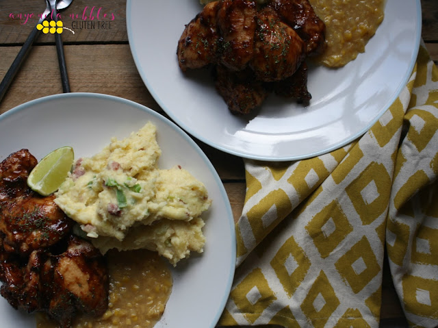 Two plates of succulent gluten free barbecue chicken thighs from Anyonita Nibbles