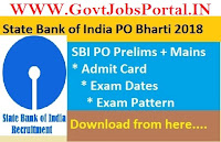 sbi po admit card 2018