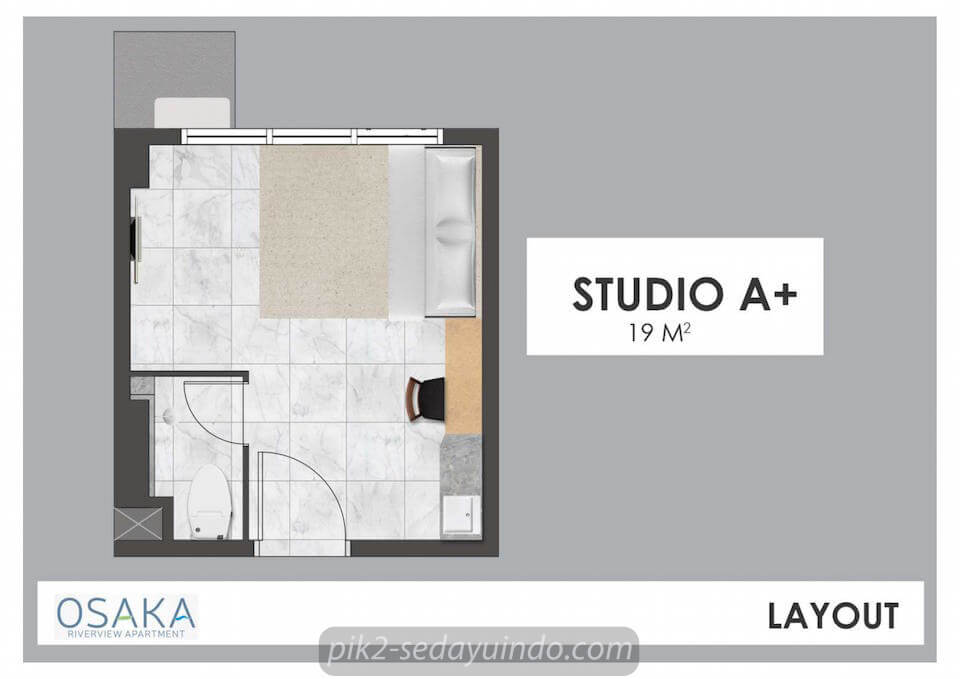 Tipe Studio A+ Apartemen Osaka PIK 2