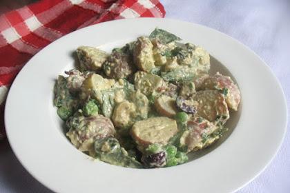 Creamy Potato Salad with Cashew Dressing and Fresh Basil