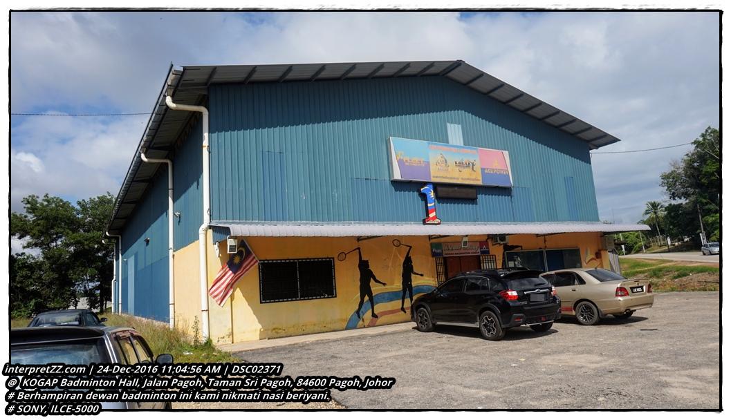gambar dewan badminton KOGAP Badminton Hall di mana kami singgah makan Nasi Beriyani.