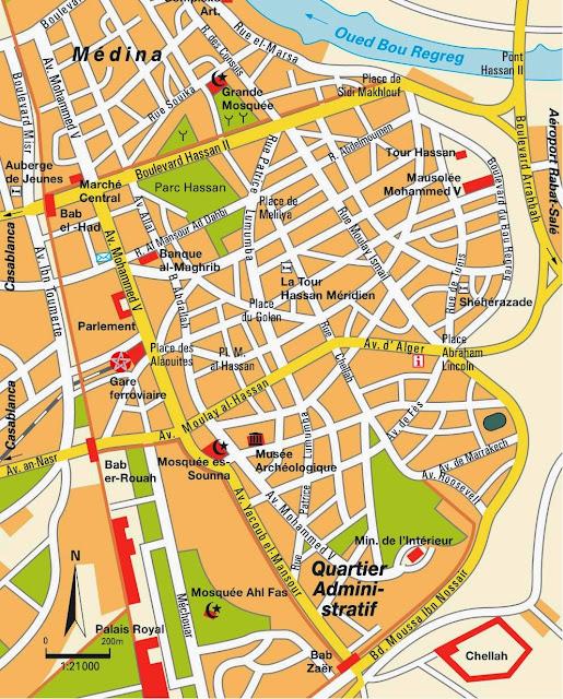 Mapa do centro de Rabat – Marrocos