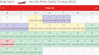 Giá vé máy bay tết đi Huế hãng Vietjet Air