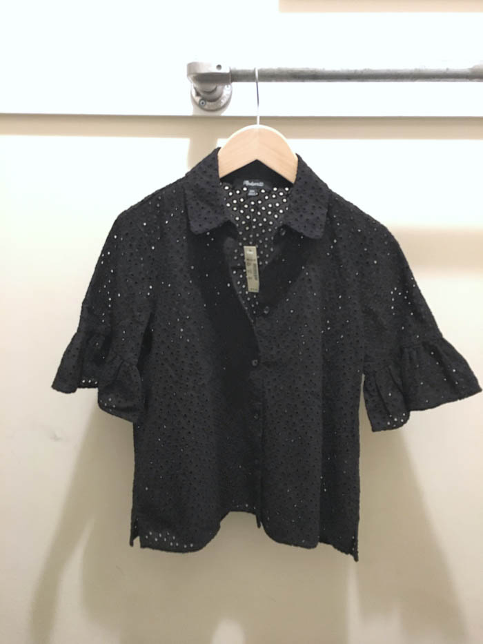 cute black eyelet top