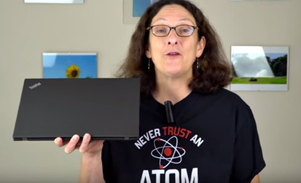 Lisa Gade Holding The Lenovo ThinkPad X270