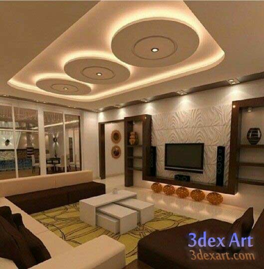 Latest false ceiling designs for living room and hall 2018 for Latest dining hall designs