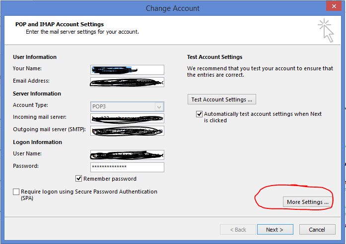 On Outgoing Server Tab Checked The My ServerSMTP Requires Authentication