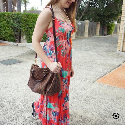 awayfromblue instagram summer kmart tropicana coral print maxi dress Louis Vuitton speedy bandouliere