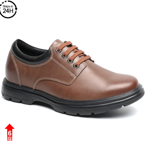 2.36 Inches Casual Elevator Shoes Brown Mens Taller Shoes That Give You Height 6CM