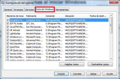 Inicio de windows 7