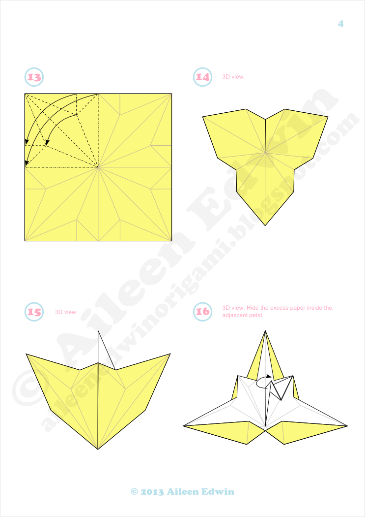 3 Petal Origami Lily Variation Diagrams (Aileen Edwin)