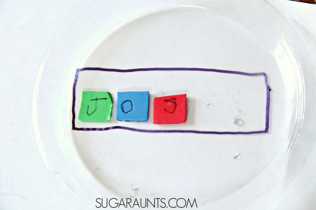 name writing and learning activity for kids