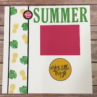 This Summer Scrapbook Page uses Stampin' Up!'s Pop of Paradise stamp set, new Large Letters Thinlits, Layering Love stamp set, and the new Layering Circles Framelits.  www.stampwithjennifer.blogspot.com