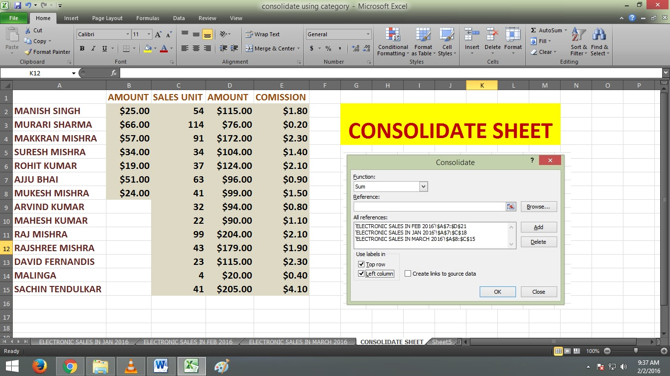 Basic Consolidate In Excel By Using Category And Label