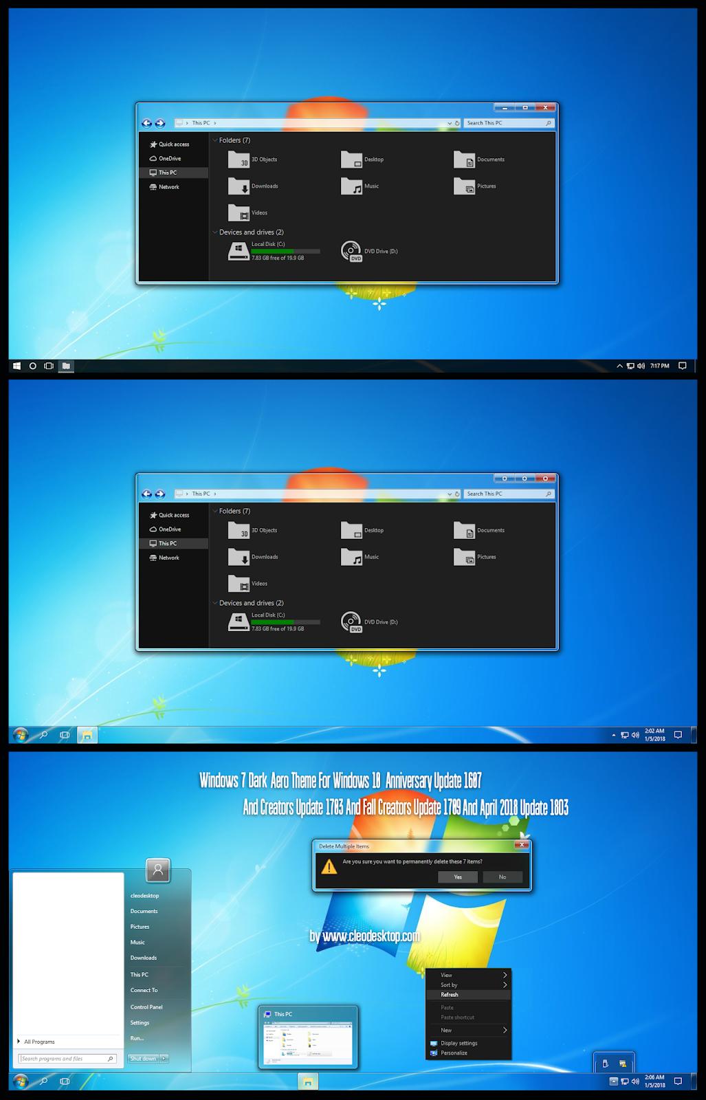 Windows 7 Dark Aero Theme Windows10 April 2018 Update 1803