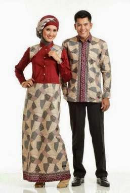 Model Baju Batik Pesta Muslim Sarimbit Modern Terbaru