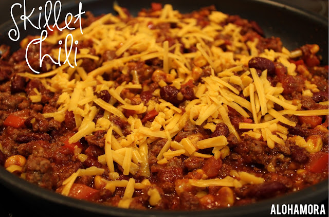 Sweet and Spicy Skillet Chili.  Quick and Easy to make in one pot/pan.  This chili is a bit thicker than my crock-pot/pot version, but just as delicious.  This hearty meal is perfect with cornbread, tortilla chips, or topping to your hotdogs while watching the big game (football, soccer, whatever). Alohamora Open a Book http://www.alohamoraopenabook.blogspot.com/  gluten free, comfort food, simple, classic, soup, fast, nut free, egg free