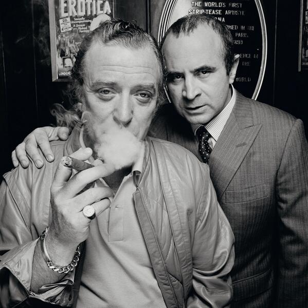 Michael Caine and Bob Hoskins, London, 1985