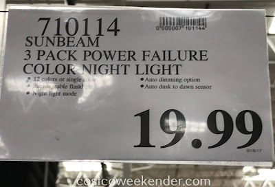 Deal for a 3 pack of Sunbeam Color Changing LED Power Failure Night Lights at Costco