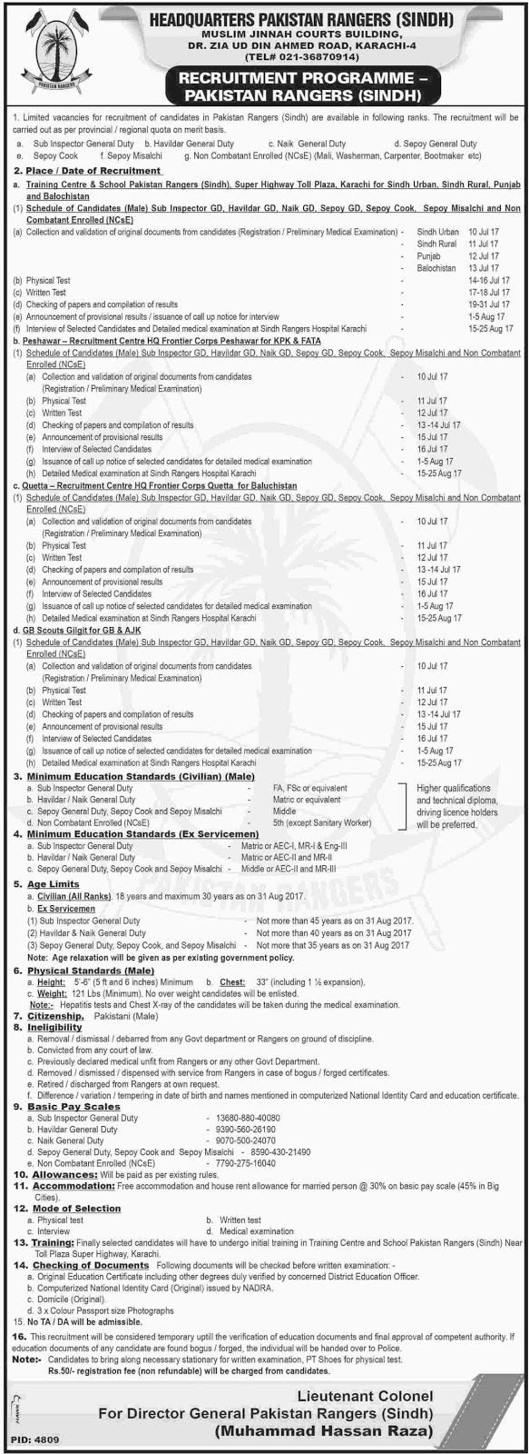 Sub-Inspector, Hawaldar & other Jobs In Pakistan Rangers Headquarter Sindh 25 June 2017