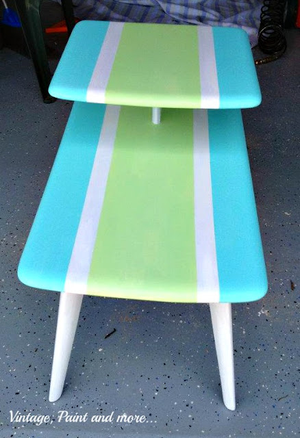 Vintage, Paint and more... surf board inspired table painted in bright beachy colors
