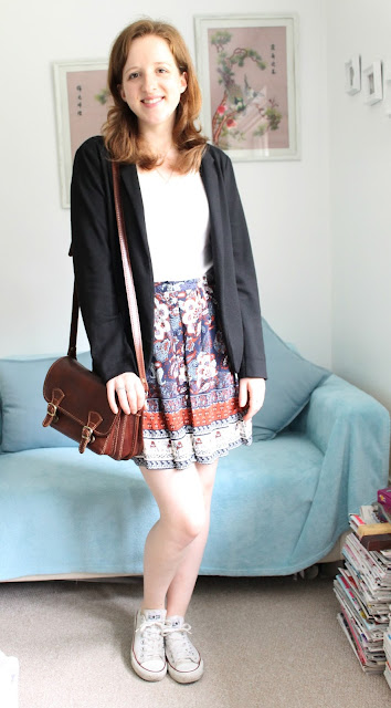 OOTD: Elephant Print Skirt and Classic Blazer, New Look, Converse, H&M, Blazer, Black Blazer, Elephant, Skirt, Fashion, Outfit