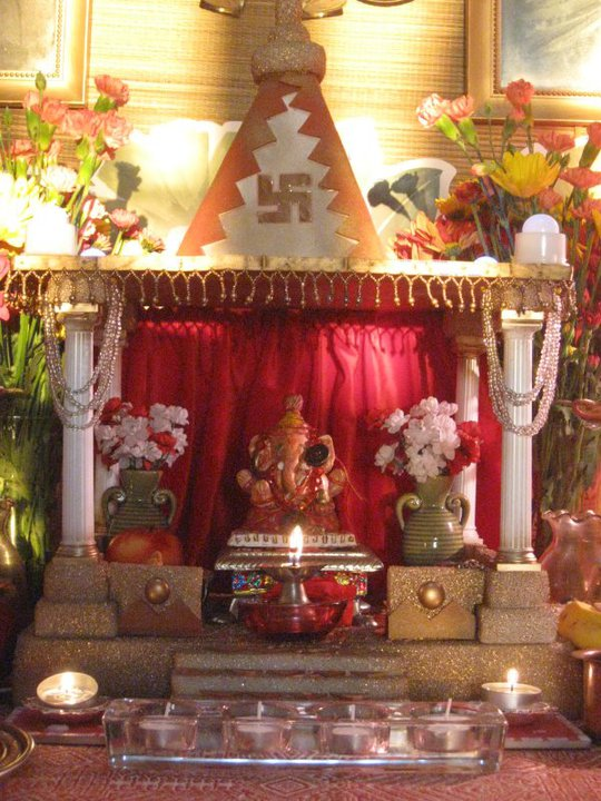 DesiKalakar  Ganpati decorations for the Ganpati festival     Ganpati Decoration   Mount Vernon  OH   2010  Now I am in a dilemma of what  next should I use to make the Ganpati temple in my Ganpati decorations for  this