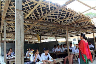 Panighatta High School students studying under damaged makeshift sheds